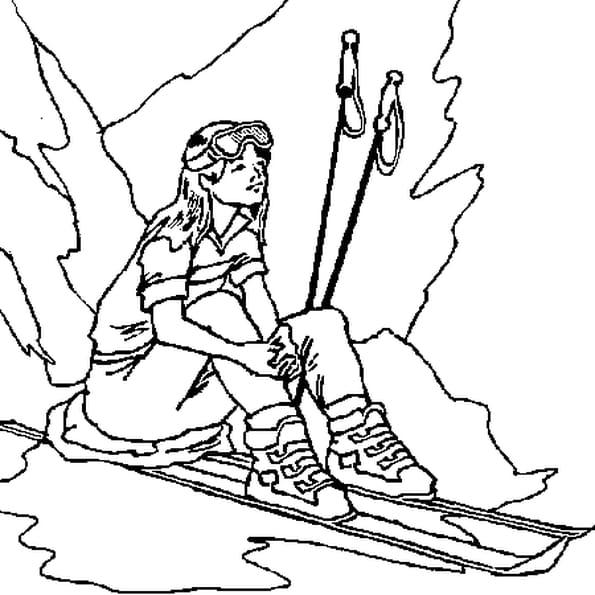 Dessin Chute de Ski a colorier