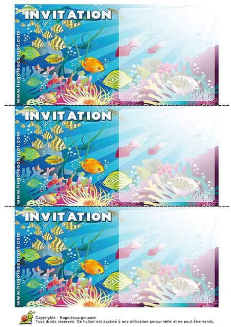 Bien connu Carte invitation anniversaire poissons colorés NC19