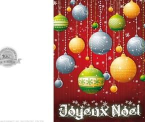 Carte de vœux boules de Noël