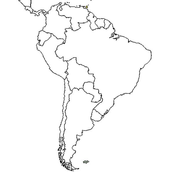 Dessin carte Amérique du sud a colorier