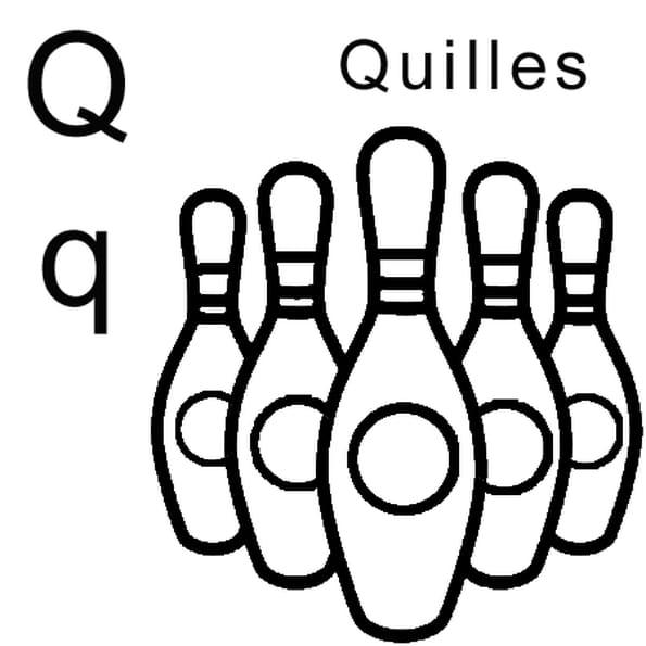 Coloriage lettre Q comme quilles en Ligne Gratuit à imprimer