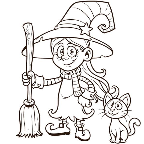 Dessin Petite sorcière a colorier