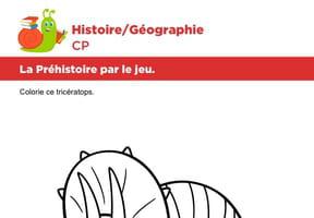La préhistoire par le jeu, colorier un tricératops