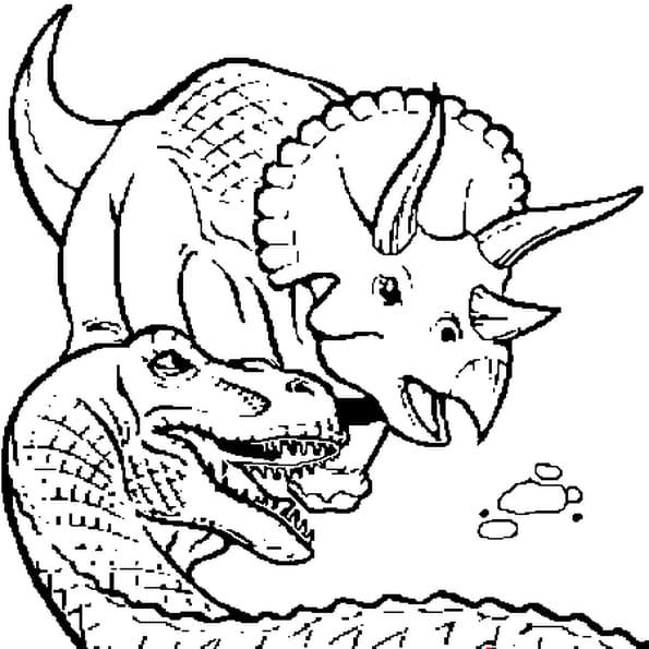 Coloriage Combat dinosaure en Ligne Gratuit à imprimer