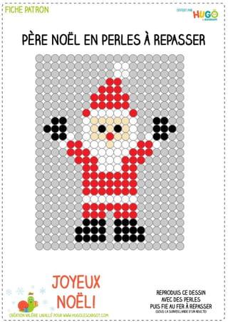 Le modèle père Noël en perles à repasser