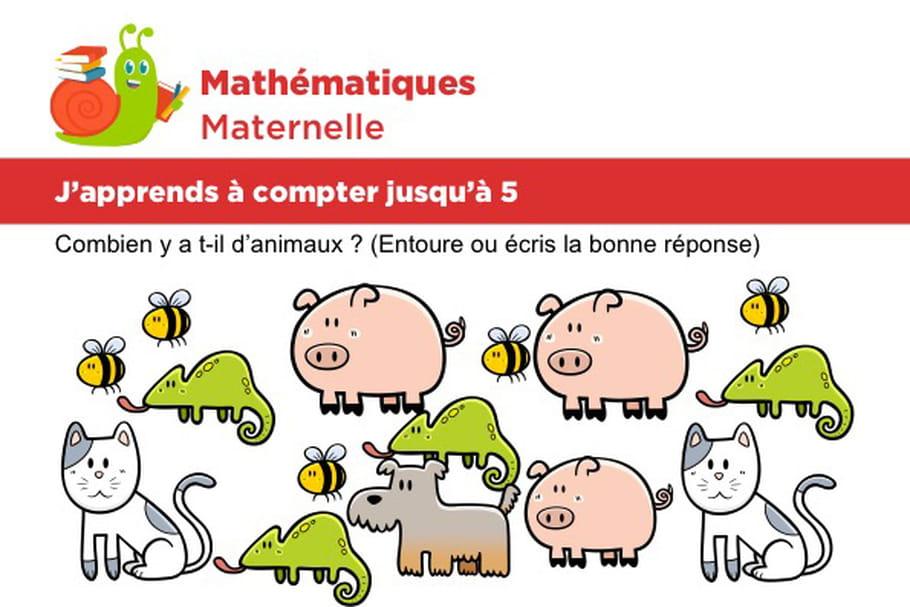 Mathématiques fiche 4, j'apprends à compter jusqu'à 5