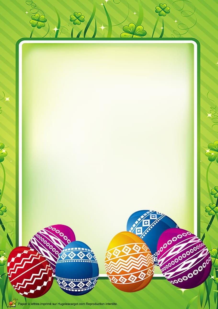 Carte œufs de Pâques peints