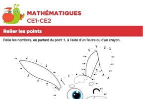 Mathématiques, relier les points, le lapin