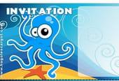 Carte invitation anniversaire pieuvre bleue