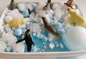 Bac sensoriel Montessori: la banquise sauvage