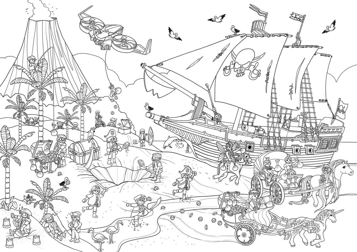 Coloriage Cache Cache Playmobil Pirates