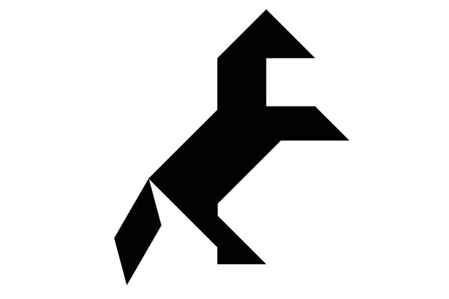 Le tangram niveau difficile, un cheval