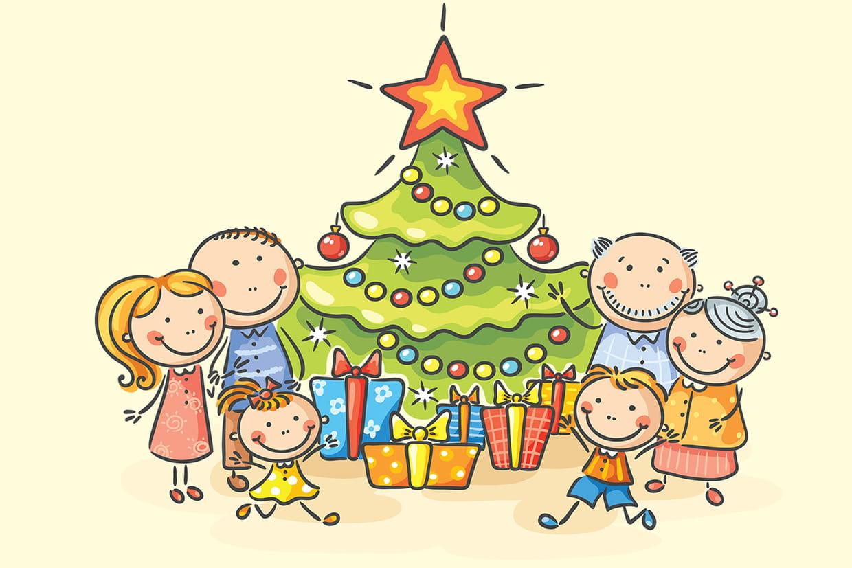 Noel En Famille Coloriage Noël en famille sur Hugolescargot.com