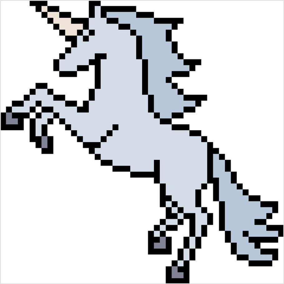 Licorne Réaliste En Pixel Art