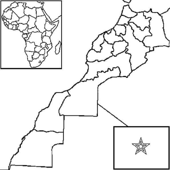 Coloriage carte Maroc en Ligne Gratuit à imprimer