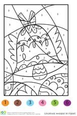 Coloriage magique cloches de Pâques