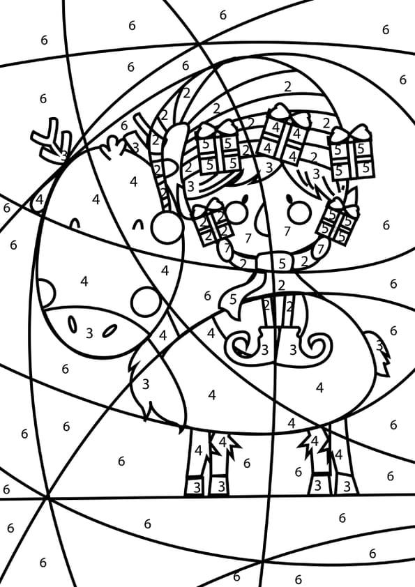 Coloriage magique lutin et renne de Noël