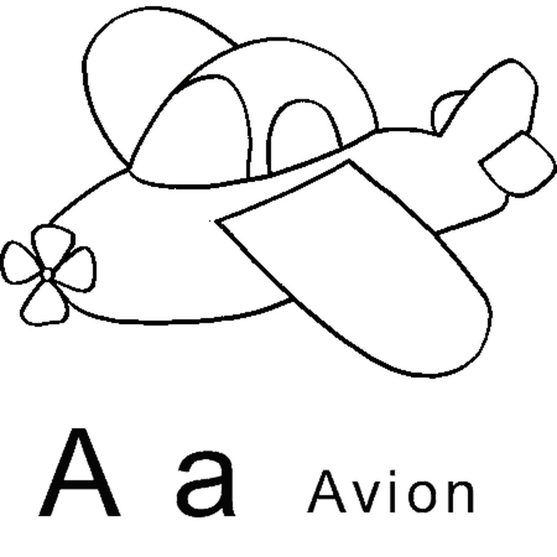 Coloriage Lettre A comme avion en Ligne Gratuit à imprimer