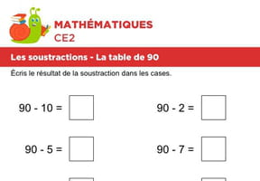 Les soustractions, la table de 90