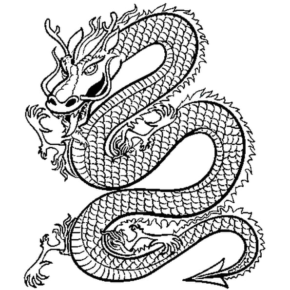 Dessin Dragon de Chine a colorier