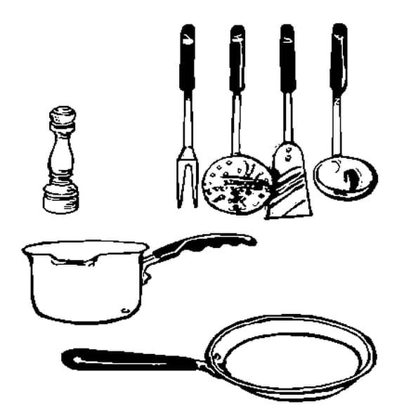 Dessin ustensiles de cuisine a colorier