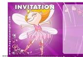 Carte invitation anniversaire fée violette