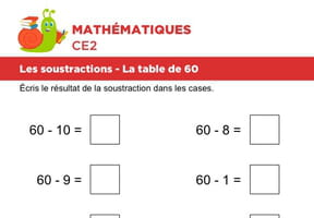 Les soustractions, la table de 60