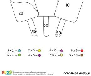 Coloriage magique CE1: des crèmes glacées