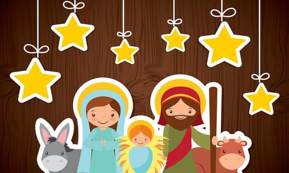 Coloriage Crèche de Noël et Nativité