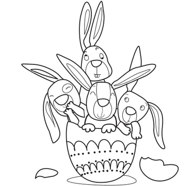 Dessin lapins de Pâques a colorier