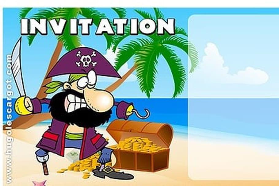Carte Invitation Anniversaire Pirate Sur Une Ile Deserte