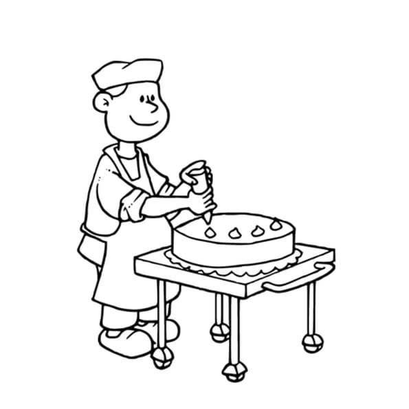 Coloriage Pâtissier en Ligne Gratuit à imprimer
