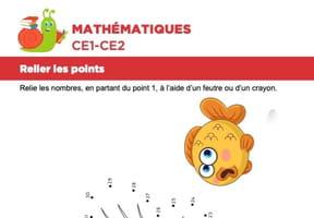 Mathématiques, relier les points, un poisson