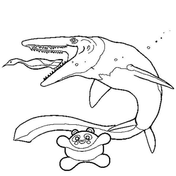 Coloriage Dinosaure poisson en Ligne Gratuit à imprimer