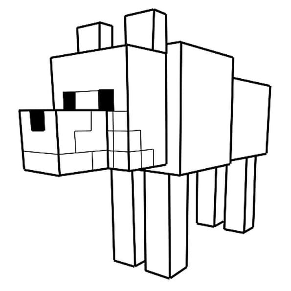 Coloriage Le Loup Dans Minecraft En Ligne Gratuit à Imprimer