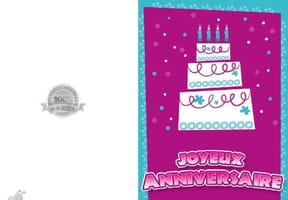 Carte anniversaire joli gâteau blanc