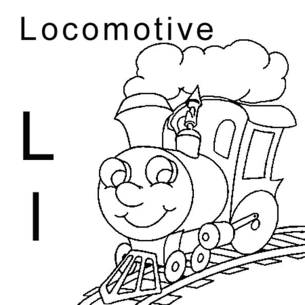 Coloriage lettre L comme locomotive en Ligne Gratuit à imprimer