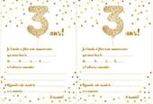 Carte d'invitation d'anniversaire 3ans