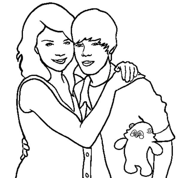 Dessin Justin et Miley a colorier