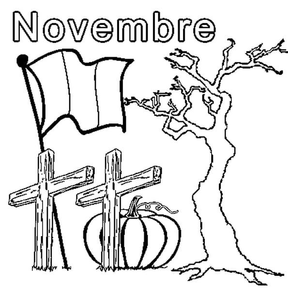 Coloriage Novembre en Ligne Gratuit à imprimer