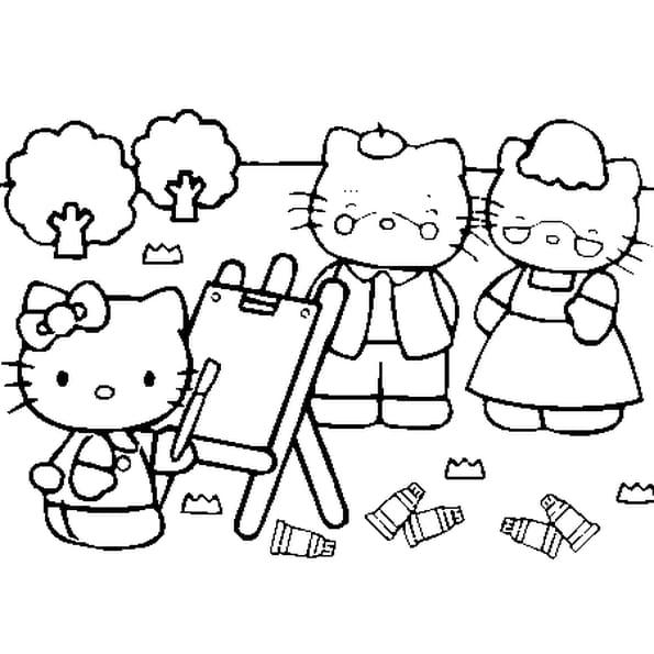 dessin hello kitty a colorier