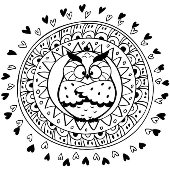 Mandala hibou coloriage mandala hibou en ligne gratuit a - Hibou en dessin ...