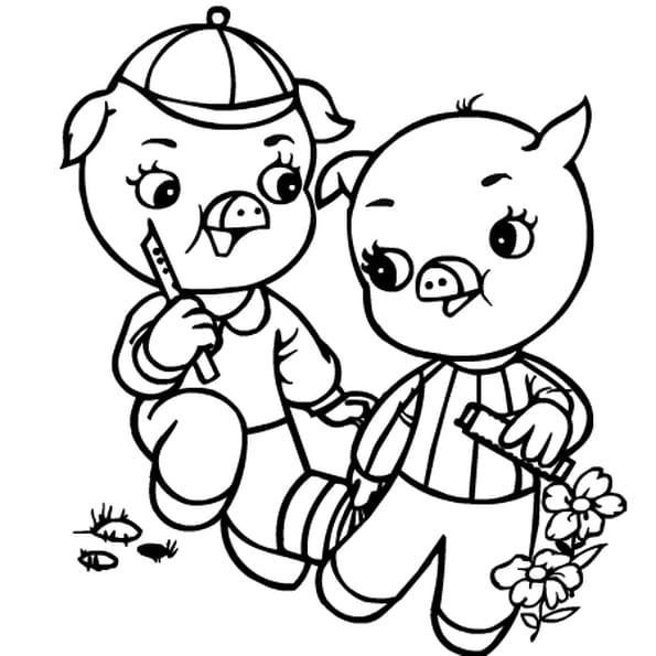 Dessin 3 petits cochons a colorier