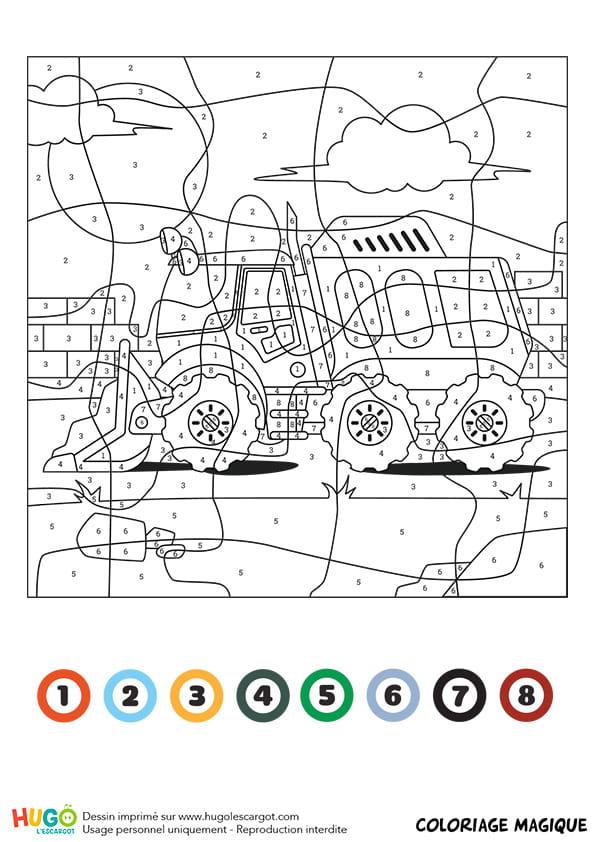 Coloriage magique CE1 : un véhicule de chantier