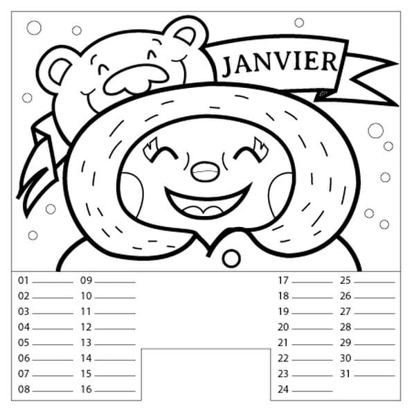 Dessin Calendrier Janvier a colorier