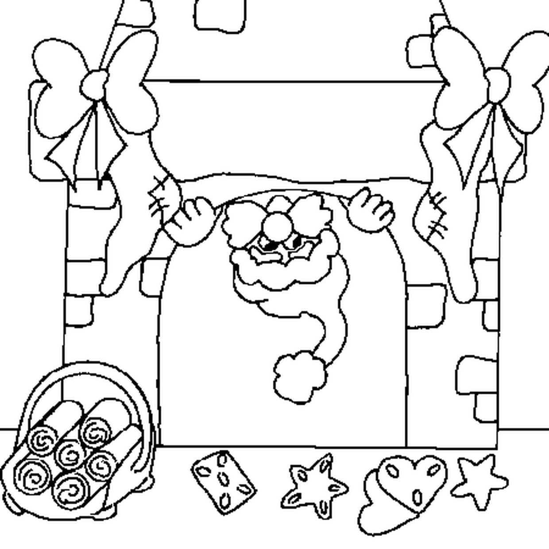 Coloriage de Cheminée de Noël en Ligne Gratuit à imprimer