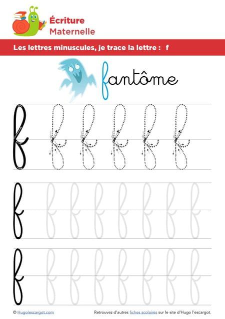 Les lettres minuscules je trace la lettre f for Cuisinier francais 7 lettres