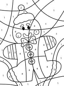 Coloriage magique bonhomme en pain d'épice de Noël