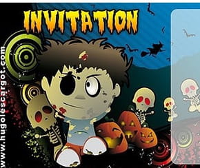 Carte invitation Halloween zombie rigolo