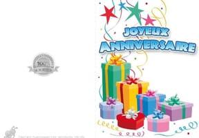 Carte anniversaire paquets cadeaux
